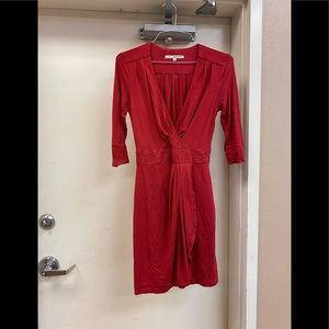 Trina turk ruched mini dress 3/4 sleeve